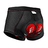 X-TIGER Men's Cycling Underwear Shorts 5D Padded Gel,MTB Biking Shorts Pants with Breathable,Adsorbent Design,Black Red M