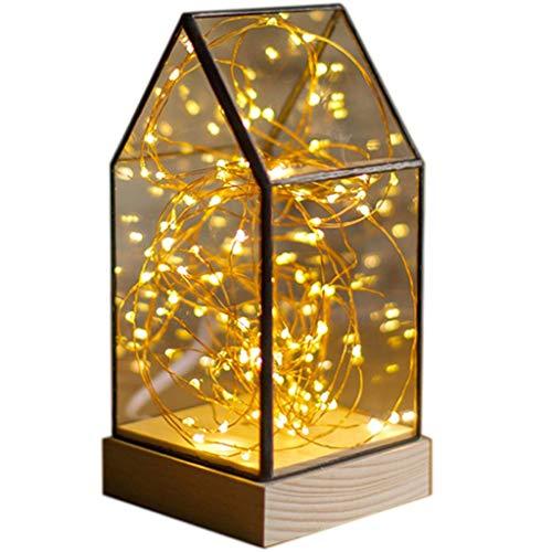 Lampe de table F LED Lumière Feu Arbre Argent Fleur En Bois Massif En Verre Abat-Jour Décoration Romantique Cadeau De Table Lampe De Table