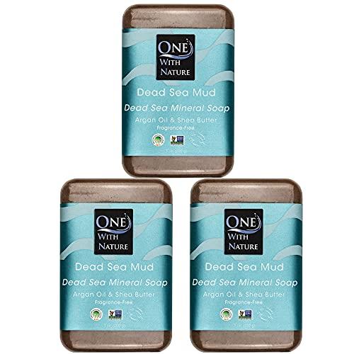 DEAD SEA Salt Mud SOAP 3 PK, Dead Sea Salt, Shea Butter, Argan Oil, Magnesium, Sulfur, Mineral Soap. All Skin Types, Problem Skin. Acne, Eczema, Psoriasis, Natural, Therapeutic, Antibacterial - 7 oz