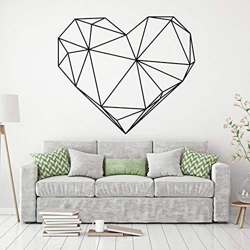 Hjärta abstrakt polygonal väggdekal kärlek geometrisk konst väggdekor klistermärken vinyl heminredning väggmålningar gör-det-själv-dekaler A9 42 x 36 cm