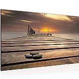 Cuadro Puesta De Sol Moderno Murales - 100% Made In Germany - Mar Puente Beige Corredor 020314a