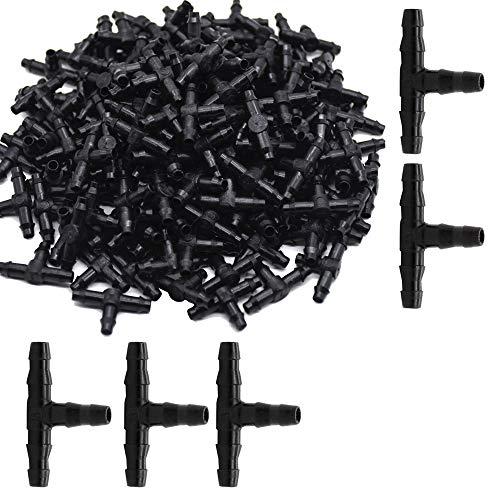 None brand 100 Pcs T-Stück Schlauchverbinder Steckverbinder T-Verteiler Sprinkler- und Garten-Bewässerungssysteme Zubehör für 4/7mm Wasserschlauch