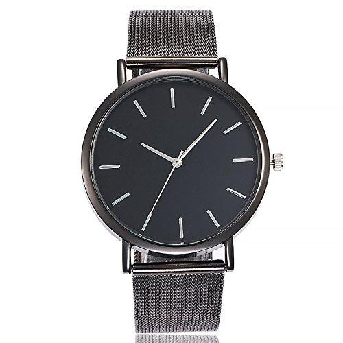 ZODOF Unisex Ultra Thin Minimalista Moda de Lujo Relojes con Negro de Acero Inoxidable Mesh Band para Negocios Casual Reloj de Cuarzo Resistente al Agua