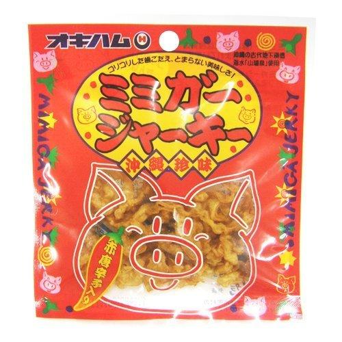 ミミガージャーキー 9g×24袋 オキハム ミミガー(豚耳皮)を島唐辛子でピリ辛に仕上げたジャーキー コリコリ食感 おつまみや沖縄土産におすすめの大人の珍味