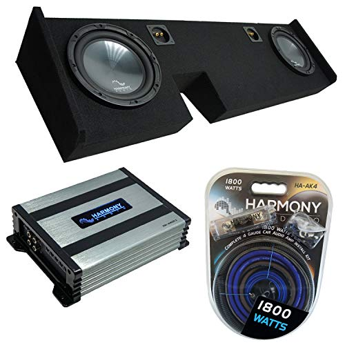 """Compatible with 2009-2014 Ford F-150 Extended/Super Cab Truck Harmony Bundle R104 Dual 10"""" Sub Box & HA-A400.1"""