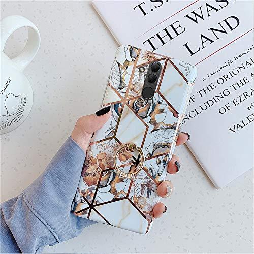 Kompatibel mit Huawei Mate 20 Lite Hülle Marmor,Weich Silikon Handyhülle,[Ring Ständer] Glitzer Gold Bling Blätter Blumen Ultra Dünn TPU Schutzhülle Handytasche Stoßfest Case Cover,Gold