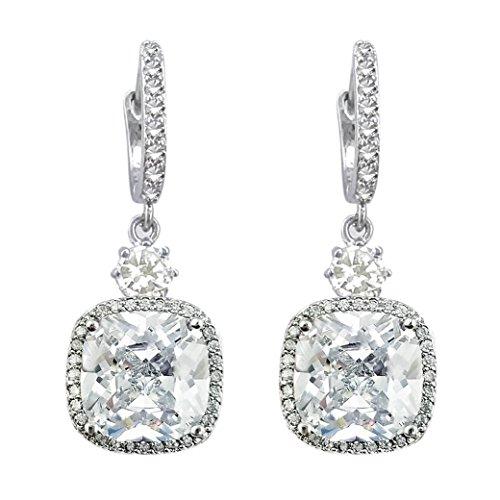 SELOVO Silver Tone Cushion Cut Clear Cubic Zirconia Hoop Pierced Drop Bridesmaid Earrings