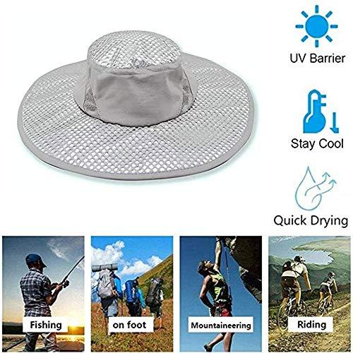 LXING Chapeau De Soleil De Climatisation Anti-UV De Refroidissement avec Maille Respirante Et Sangle De Menton Réglable pour La Randonnée De Chasse Unisexe Camping Outdoor Hat A