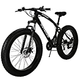 Outroad Mountain Bike 21 Speed Anti-Slip Bike 26 inch Fat Tire Sand Bike Double Disc Brake Suspension Fork Suspension, Black
