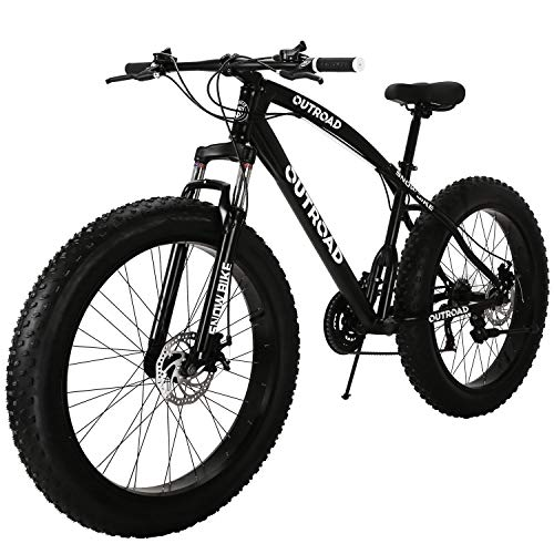 Outroad Fat Tire Mountain Bike Snow Bike 26 inch 21 Speed Grass Sand Bicycle, Black