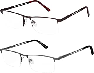 2 Pack Blue Light Blocking Reading Glasses for Men, Computer Reading Glasses Metal Frame (Brown,Grey 1.5)