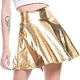 QinMMROPA Minifalda Brillante Metalizada para Mujer Falda Plisada Acampanada Tutu Falda Animadora Dorado M(EU36)