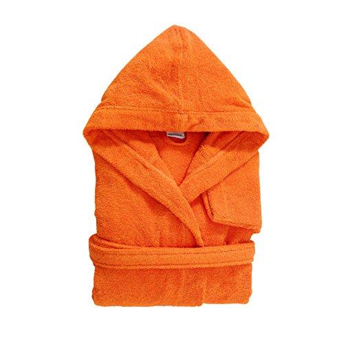 Bassetti Time Bademantel mit Kapuze und Taschen aus Frottee 100% Baumwolle verschiedene Farben, ARANCIO, Medium