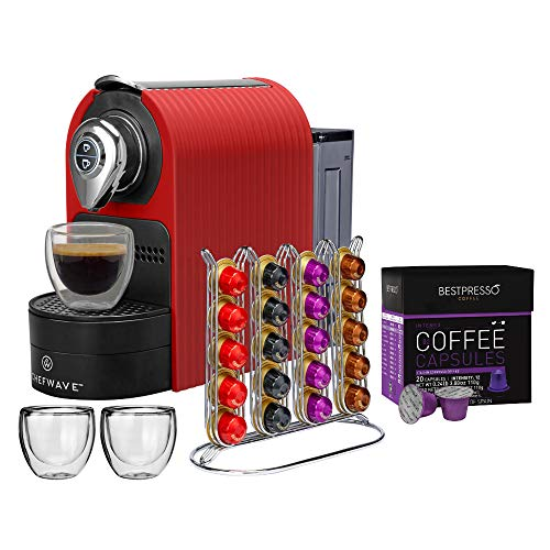 ChefWave Mini Espresso Machine - Compatible with Nespresso pods, Programmable One-Touch 27 Oz. Water Tank - 40 Pod Holder, 2 Double-Wall Glass Cups - Red Includes 20 Bestpresso Intenso Coffee Capsules