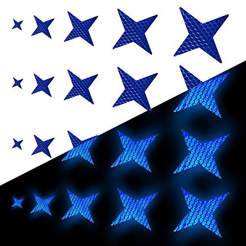 Tuqiang Vierzackige Sternform Reflektierendes Klebeband Wasserdicht Selbstklebend Für Fahrräder Mini-Scooter's Sicherheit im Freien Reflektierend Aufkleber 25 Stück Blau