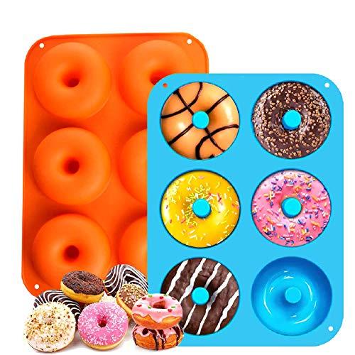 LINKLKBOY 2 Donut Backblech,Antihaft Donut Backblech,Silikon-Donut-Formen,Donut Backform Form Silikon Backform, 260℃ Hitzebeständig, für Kuchen, Kekse, Bagels, Muffins (Orange + Blau)