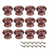 Sourcing Map - Pomos redondos de madera, 12 unidades de 37 mm de diámetro para muebles de cocina, tiradores para aparador de cajón, color rojo oscuro