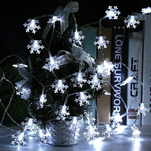 Runostrich Snowflack Cadena de luces, 6 m, 40 luces LED de Navidad para boda, fiesta, dormitorio, árbol de Navidad, decoración interior y exterior (blanco)