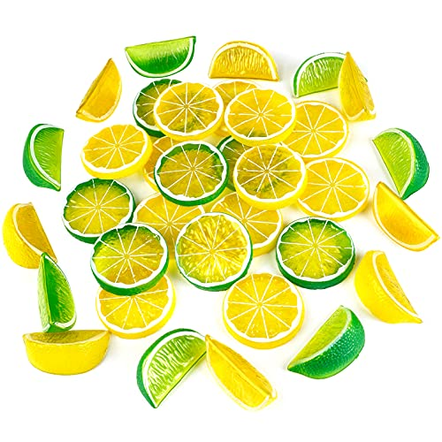 JUSTDOLIFE 50pcs Artificial Lemon Slices Blocks : 30pcs Fake Lemon Slices and 20pcs Simulation Lemon Blocks Realistic Plastic Fruit Lemon Decorations in Yellow Green for Decoration Kitchen Room Party
