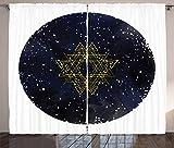 ABAKUHAUS Mandala de la Galaxia Cortinas, Estelar de la Vía Láctea, Sala de Estar Dormitorio Cortinas Ventana Set de Dos Paños, 280 x 245 cm, Gris de carbón de la Noche Azul