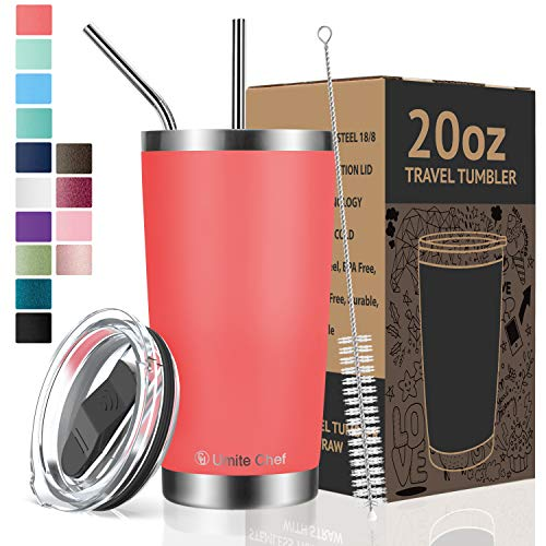 Umite Chef 20oz Tumbler Double Wall Stainless Steel Vacuum Insulated Travel Mug with Lid, Insulated Coffee Cup, 2 Straws, for Home, Outdoor, Office, School, Ice Drink, Hot Beverage (20oz,Coral Orange)