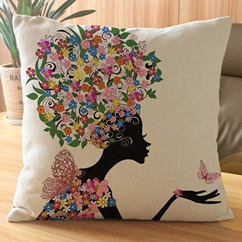 None brand Kreative Blumensaison Mädchen Druckkissen quadratischen Kissenbezug Home Decoration Drehbank Sofa aus Baumwolle und Leinen