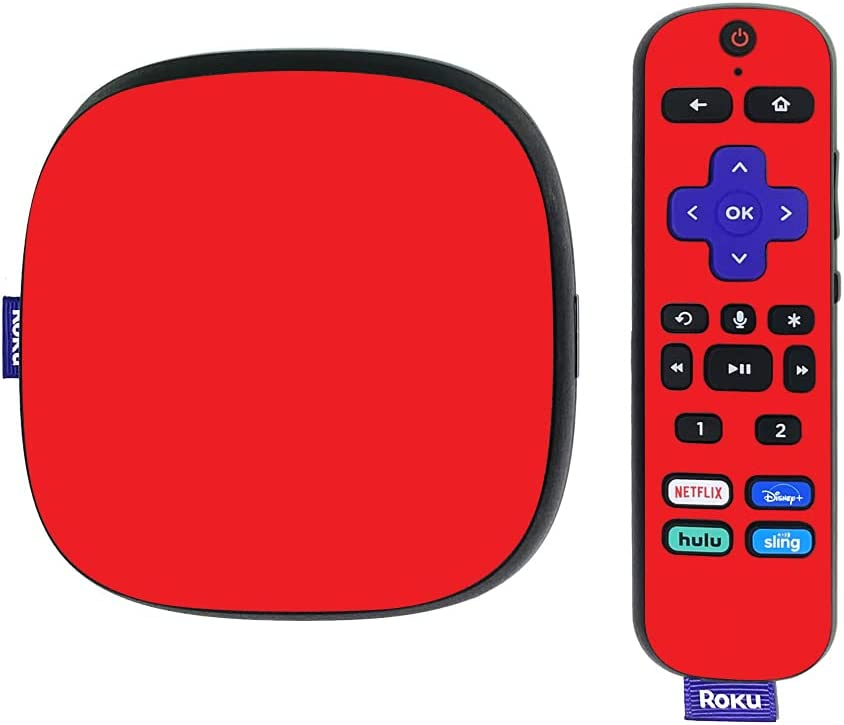 MightySkins Skin Compatible with Roku Ultra HDR 4K Streaming Media Player (2020) - Solid Red | Protective, Durable, and Unique Vinyl Decal wrap Cover | Easy to Apply | Made in The USA
