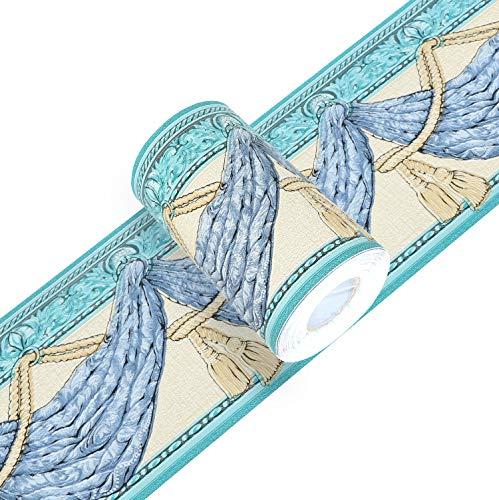 Yoillione Tapete Bordüre Selbstklebend Bordüren Blau Tapetenbordüre Wand, Wasserdichte PVC Klebe Bad Bordüre Küche Wandbordüre Muster für Wohnzimmer Badezimmer Schlafzimmer Wanddeko