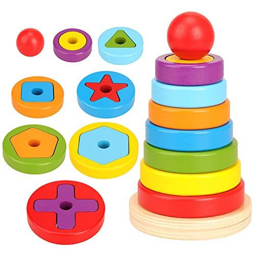 Kalaokei Jouet éducatif pour L'apprentissage, Puzzle Sûr Jouet Bébé Enfants en Bois Arc-en-Ciel Anneau Géométrique Blocs De Construction Empilage Jeu Puzzle Jouet Multicolore