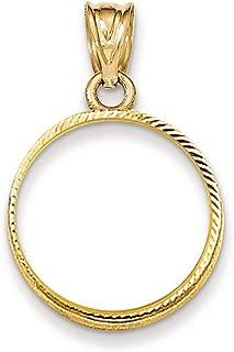 Roy Rose Jewelry 14K Yellow Gold Diamond-Cut Prong 1/10 American Eagle Coin Bezel Pendant