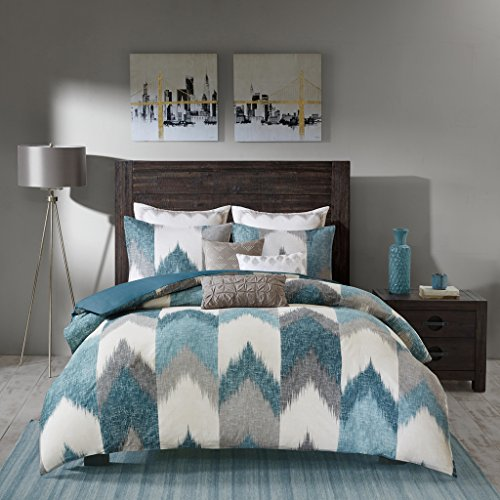 Ink+Ivy Alpine Cotton Duvet Cover Mini Set Aqua Full/Queen