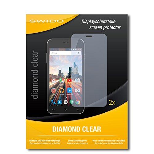 SWIDO 2 x Bildschirmschutzfolie Archos 50 Helium+ Schutzfolie Folie DiamondClear unsichtbar