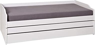 Esidra Hammond Lit Convertible en 3 Lits, pin, Blanc, Simple, 97 x 209 x 65 cm