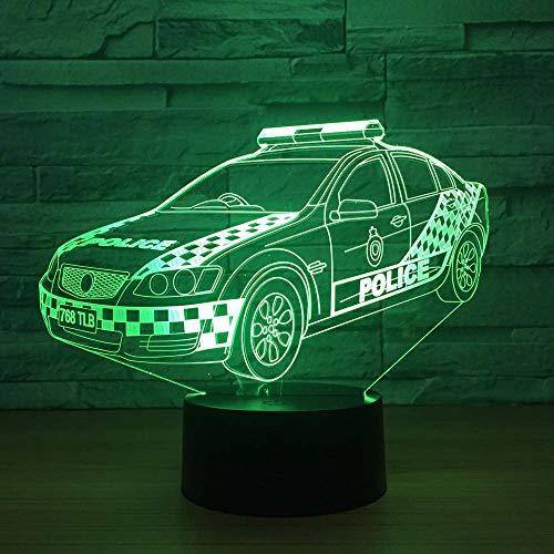 Modelauto Politie auto 3D Night Light USB Kleurrijke humor bureaulamp deco lamp kinderkamer sfeerverlichting baby slaaping nachtlamp