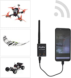 SoloGood 5.8GHz FPV Receiver,OTG Receiver 150CH FUAV Capture Card Auto-scan Snowflake Function Android Mobile Phone Tablet Smartphone(Black) …