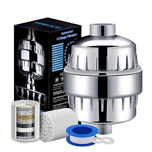H HOMEWINS 12-Schichten Duschfilter Universal Hochleistungsfilter Wasserfilter mit Ersatz Kartusche & Teflonband für Duschköpfe, Entfernen von Chlor Calciumsulfit Schwermetal