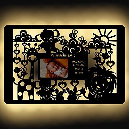 Baby Bilderrahmen Holz Deko Wand-Lampe Nachtlicht Geschenke zur Geburt & Taufe personalisiert mit Namen & Geburtsdaten I Batteriebetrieb