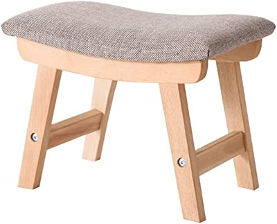 DJJSGSB Footstools & Ottomans Solid Wood Change Shoe Stool Foot Stool Upholstered Footrest Wooden Retro Ottoman Dust-Proof Hallway Stand Chair Bench Linen Fabric Seat Cushion Be Applicable Compatible