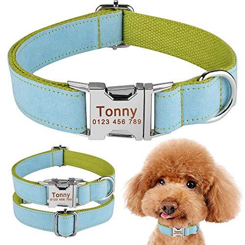 ソフトナイロンPersoanlized犬の首輪の小さな中型ペット名前タグ無料刻印