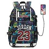 Lorh's store Jugador de Baloncesto Estrella Michael Jordan Mochila multifunción Estudiante de Viaje Mochila para fanáticos para Hombres Mujeres (Estilo 6)
