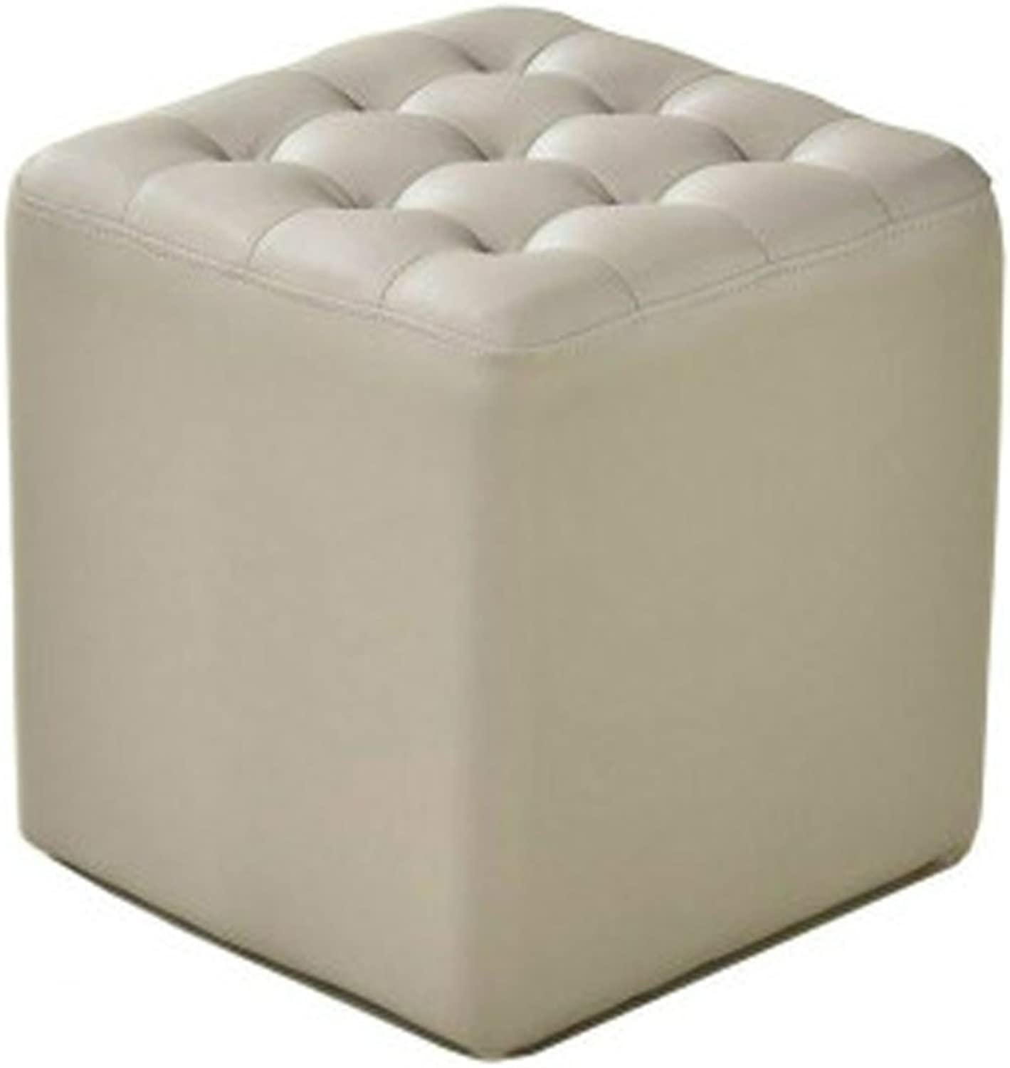 Leather Stool Sofa Stool Leather Stool Square Stool shoes Bench Coffee Table Stool Living Room Small Stool Makeup Stool(White) 0522A (color   Square)