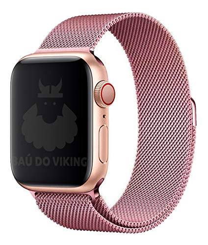 Pulseira Aço Milanese Milanês, compatível com Apple Watch (Rosa, 40mm)