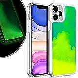 VenSen Liquid Fluorescent Case for Apple iPhone 11 Pro (5.8 inch) Soft TPU Luxury Glow in The Darkness Noctiluncen Luminous Neon Sand case Fit iPhone11 11Pro (Green)