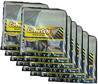CoverGrip Quick Drop 8 Oz Canvas Safety Drop Cloth, 3.5' x 4', (Pack of 12)