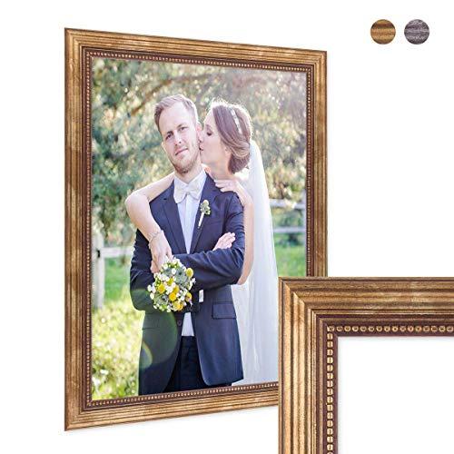 PHOTOLINI Bilderrahmen 30x42 cm/DIN A3 Gold Barock Antik Massivholz mit Glasscheibe und Zubehör/für Meisterbrief/Urkunde