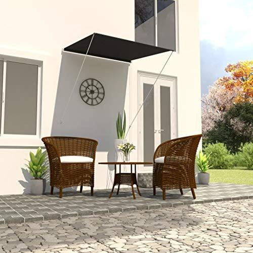 vidaXL Markise Einziehbar Klemmmarkise Balkonmarkise Sonnenschutz Windschutz Beschattung Terrasse Garten Außen Rollo 100x150cm Anthrazit