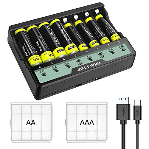 Cargador universal de 8 ranuras para cargador individual para baterías recargables Ni-MH AA AAA, con pantalla LCD y micro USB y tipo C, con 4 pilas AA y 4 pilas AAA recargables