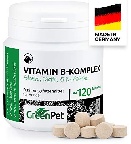 GreenPet Vitamin B Komplex Hund - 8 B Vitamine, Biotin, Folsäure, Mineralstoffe, Hochdosierte Vitamine für Hunde Senior, Junge & Welpen, Made in Germany, 120 Tabletten für bis zu 4 Monate
