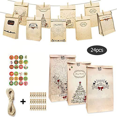 Macabolo 24 Pack Kerstmis Kraft Papieren Tassen Kerstmis Gift Tassen Bakken Papieren Tas met Hangende Tang, Houten Clip, 24 Kerst Stickers Adventskalender voor Kerstmis Feestbenodigdheden