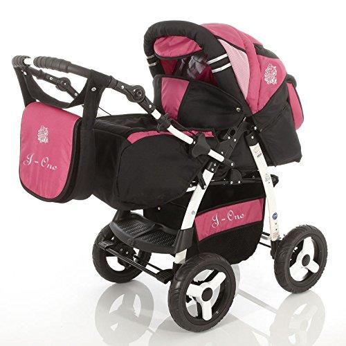 Chilly Kids J1 3 in 1 kinderwagen Combinatie Pushchair (met stoel, regenhoes, muggennet, 07 kleuren) 76 zwarte schaduw & bes